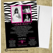 Zebra Invitations - Photo Quinceanera