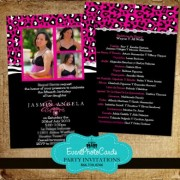 Cheetah Hot Pink  Quinceanera Invitations