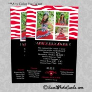 Zebra Quinceanera Photo Invitations - Red 2