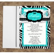 Zebra Invitations Monogram Aqua