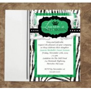 Zebra Invitations Monogram Green